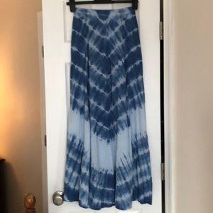 Lulus Blue Tie Dye Maxi Skirt
